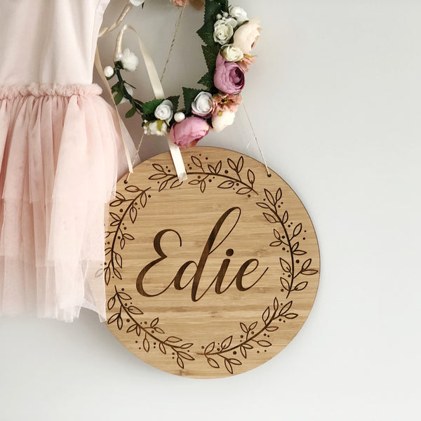 Floral Wreath Name Plaque