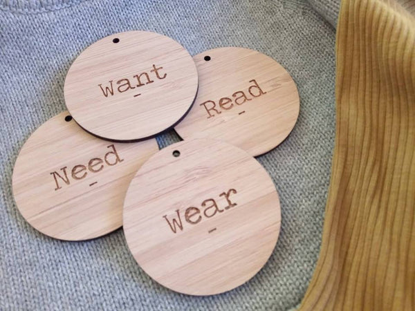 Want - Need - Wear - Read Gift Tags [TYPEWRITER]