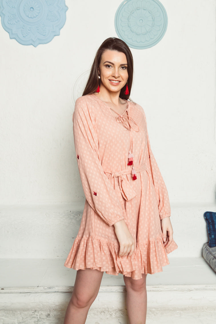 Raha Cotton Long Sleeve Dress