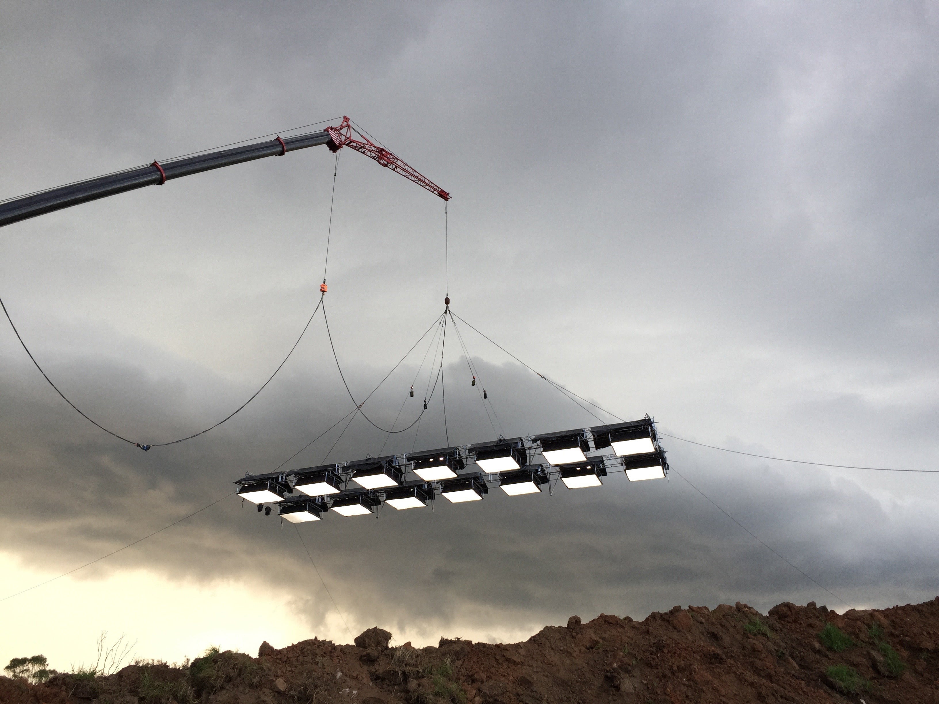 Industrial crane with a custom array of BB&S LED soft lights