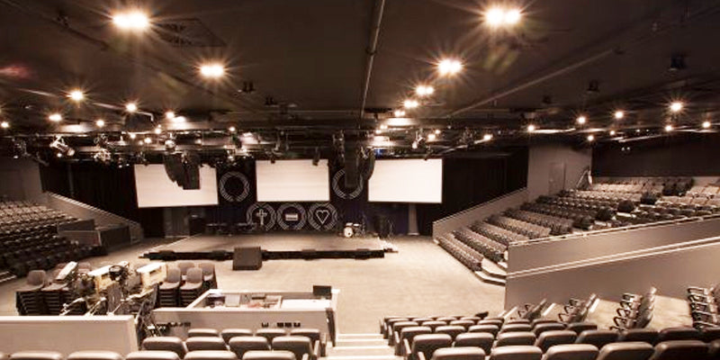 Hillsong Church auditorium view from crowd