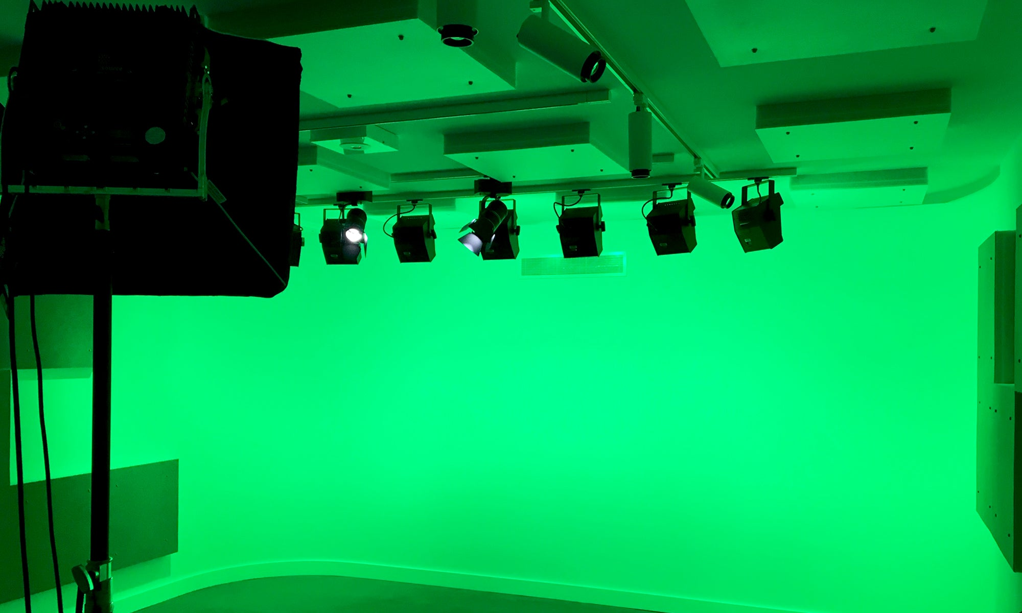UNSW Kensington Track Studio Fitout all green with the use of LED Cycs