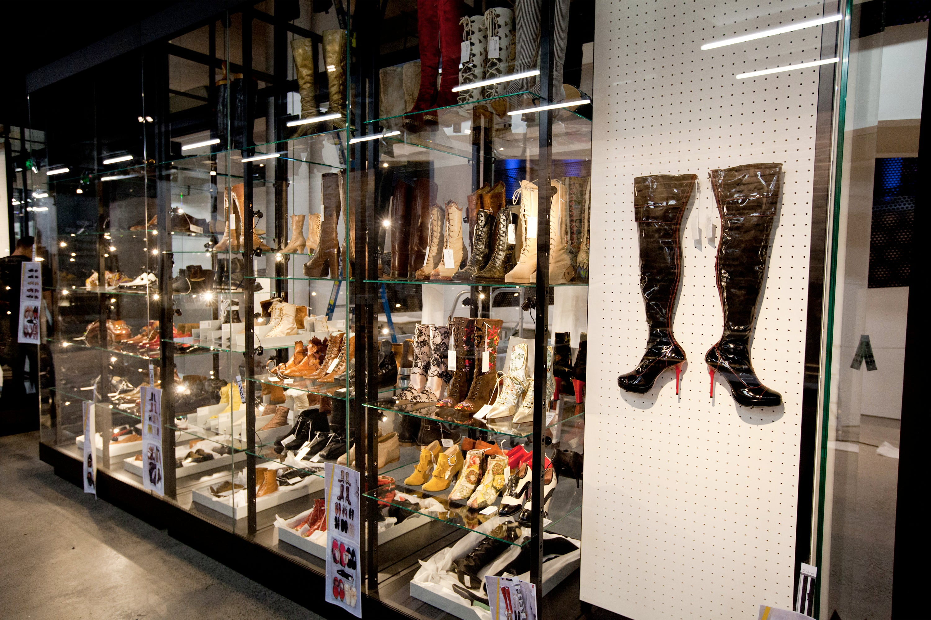 Powerhouse Museum RECOLLECT: Shoes exhibition display cabinets with micro fixtures