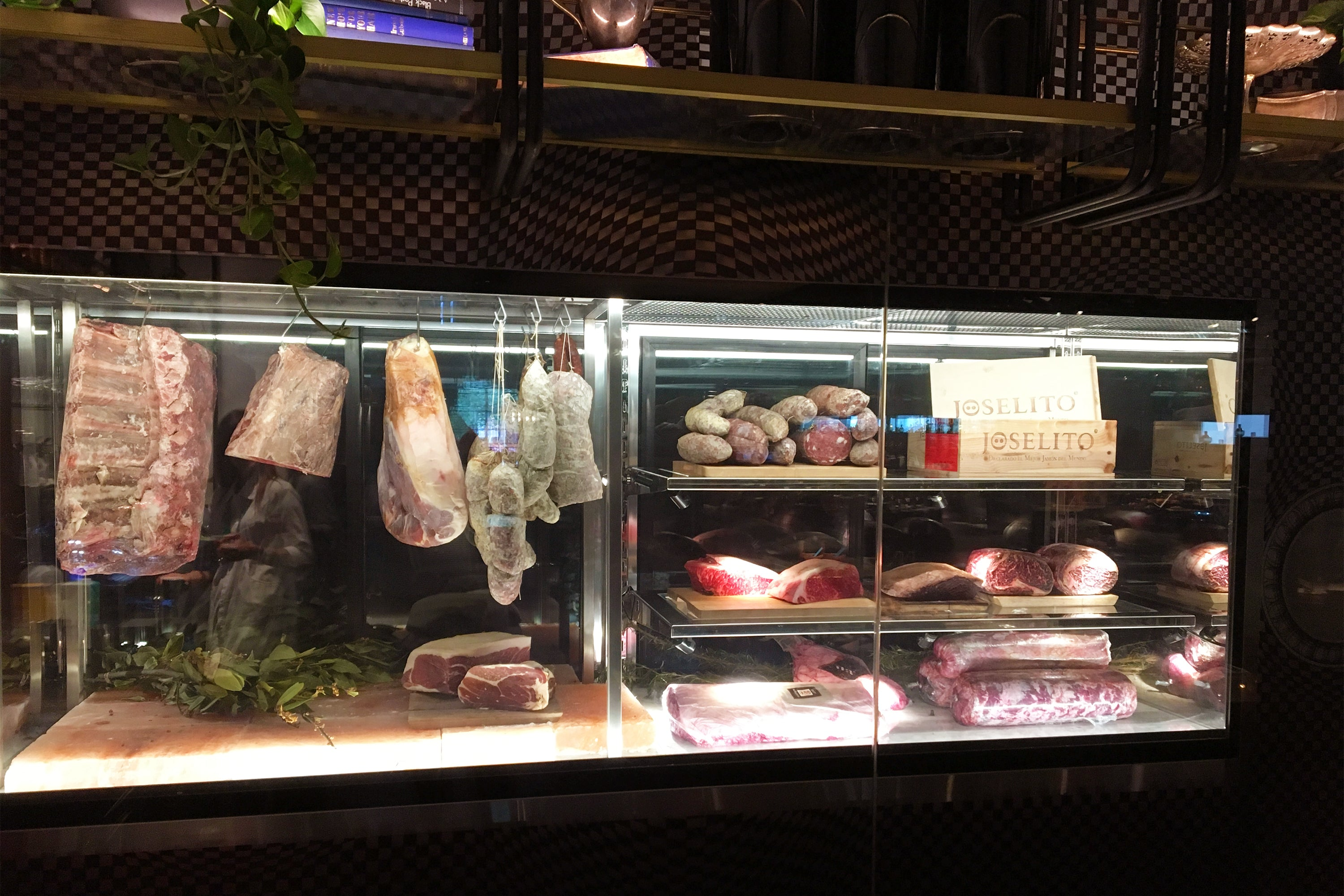 Full Meat Cabinet lit up at Pascale's Bar & Grill, QT Melbourne