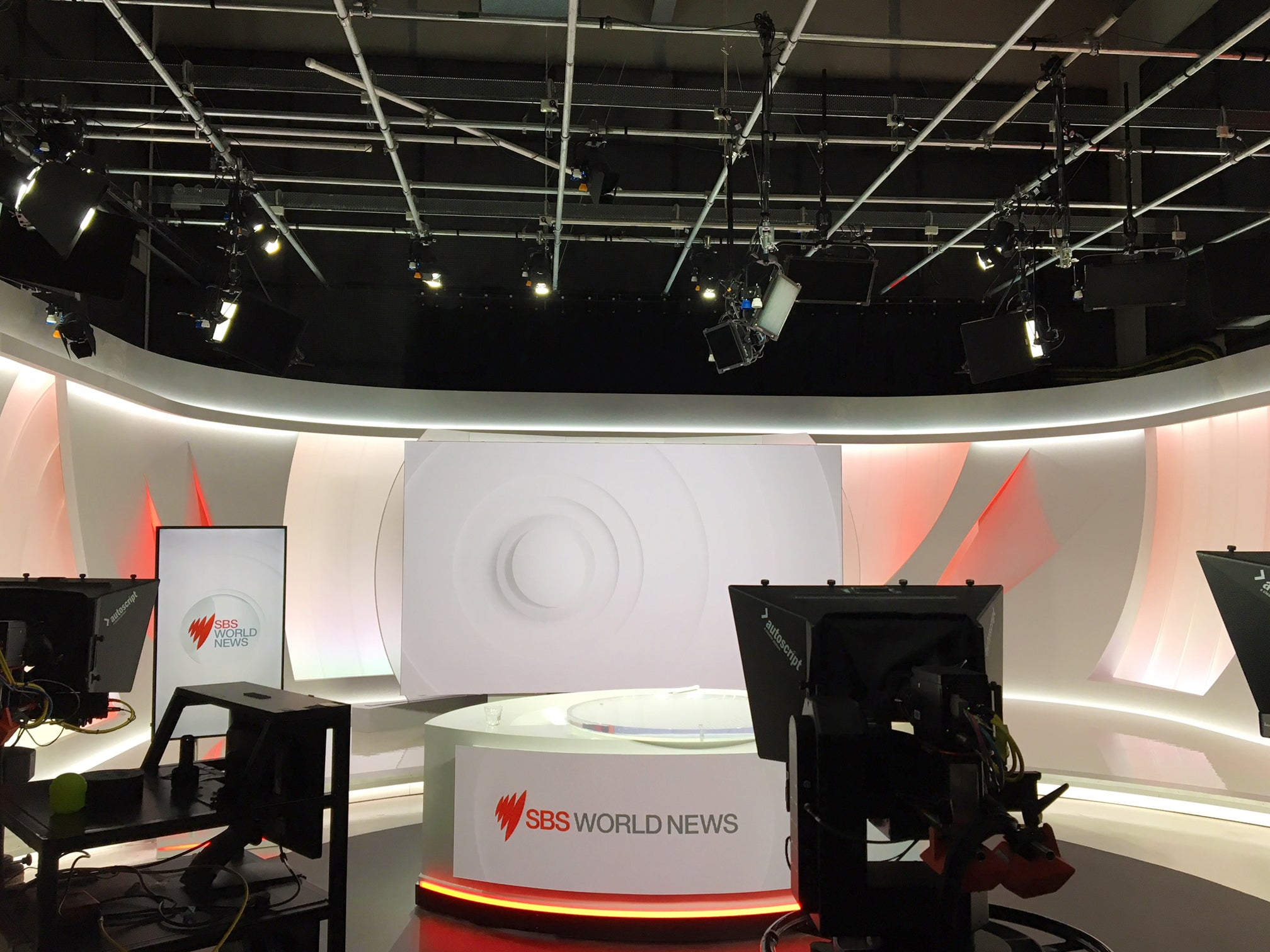SBS World news TV studio fit out behind the scenes