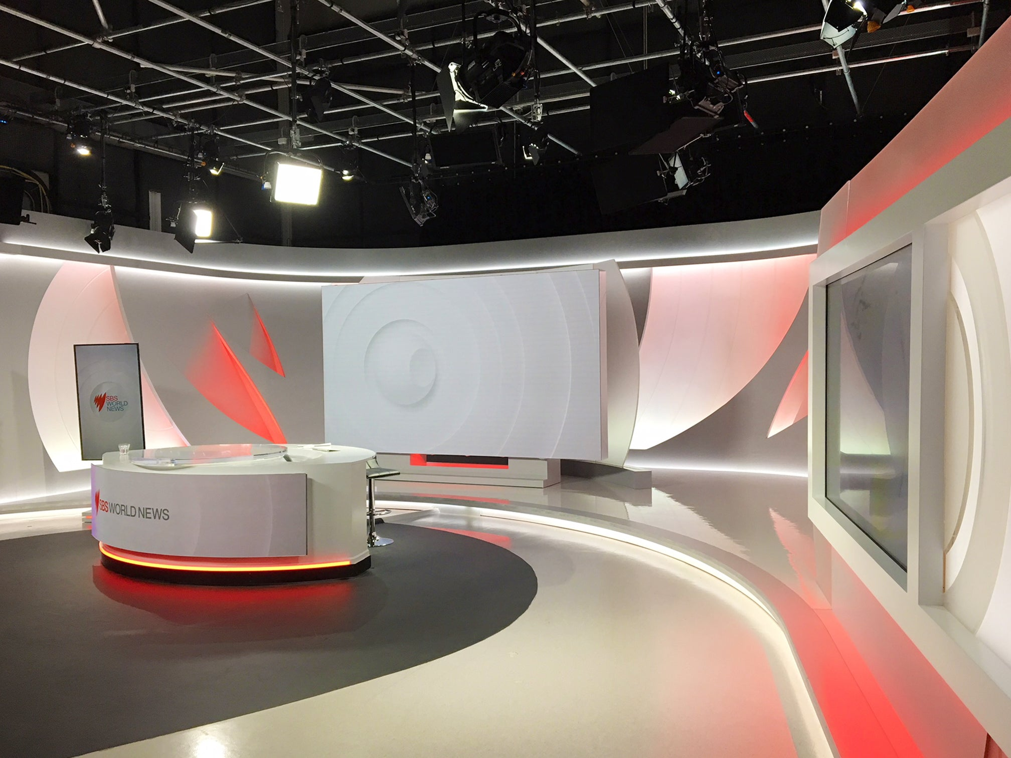 SBS World news TV studio featuring ARRI LED Panels and Fresnels