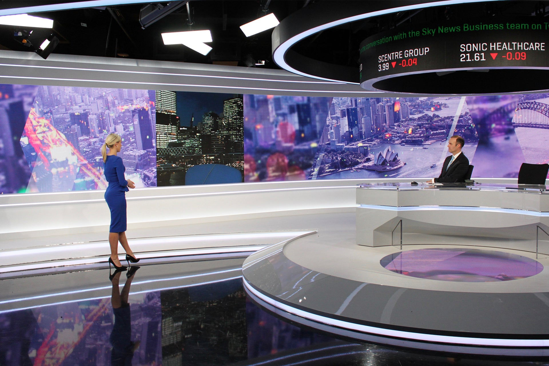 LED panels featuring at the impressive Sky Business Channel studio