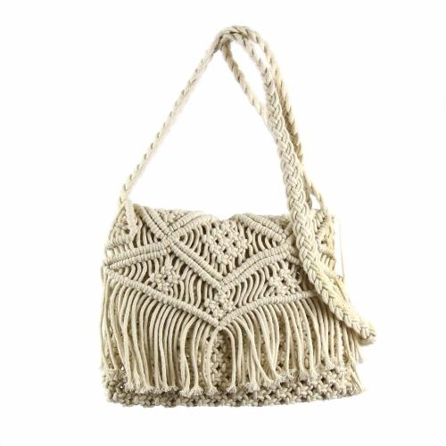 Macrame Shoulder Bag, Cream
