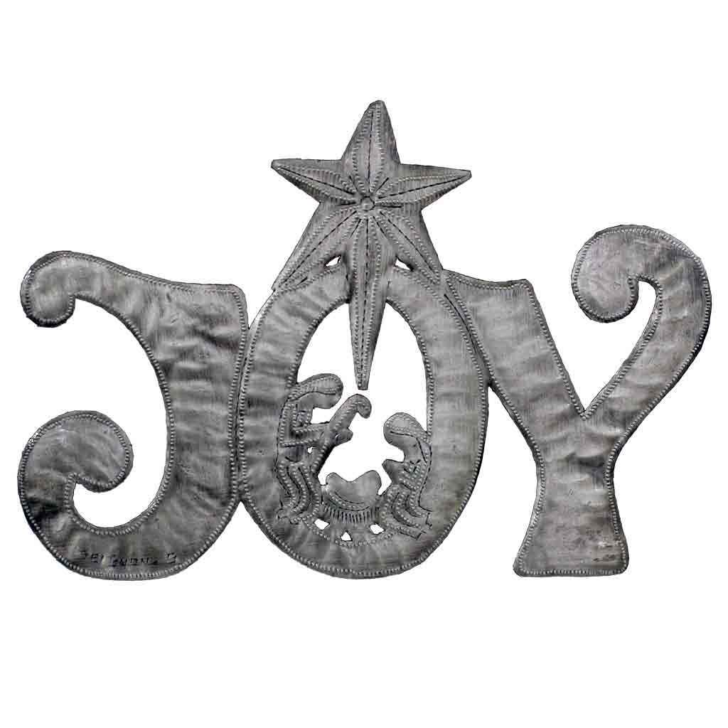 "JOY Metal Art with Nativity Scene (11"" x 8"") - Croix des Bouquets (H)"