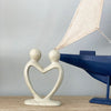 Handcrafted Soapstone Lover's Heart Sculpture in White - Smolart