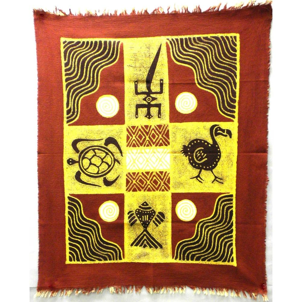 Four Creatures Batik in Red/Maroon - Tonga Textiles