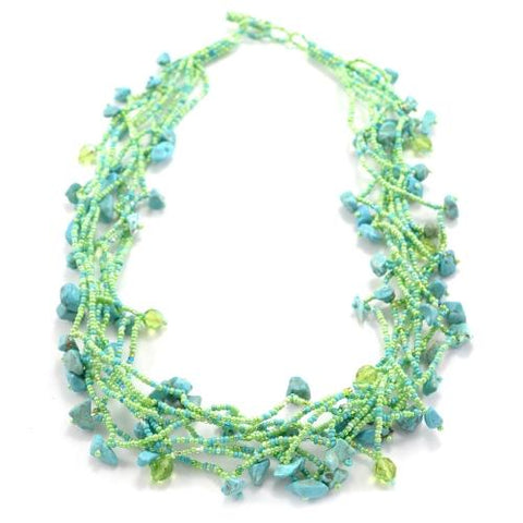 Chunky Stone Necklace - Seafoam Greens - Lucias Imports (J)