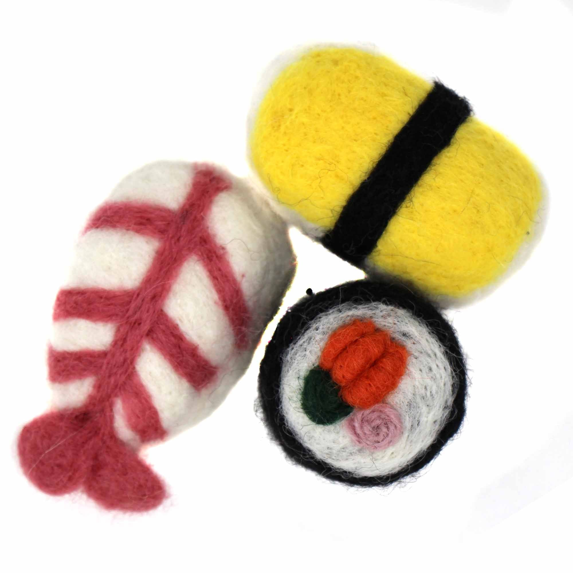 Set of 3 Hand felted Sushi Cat Toys with Catnip - Global Groove