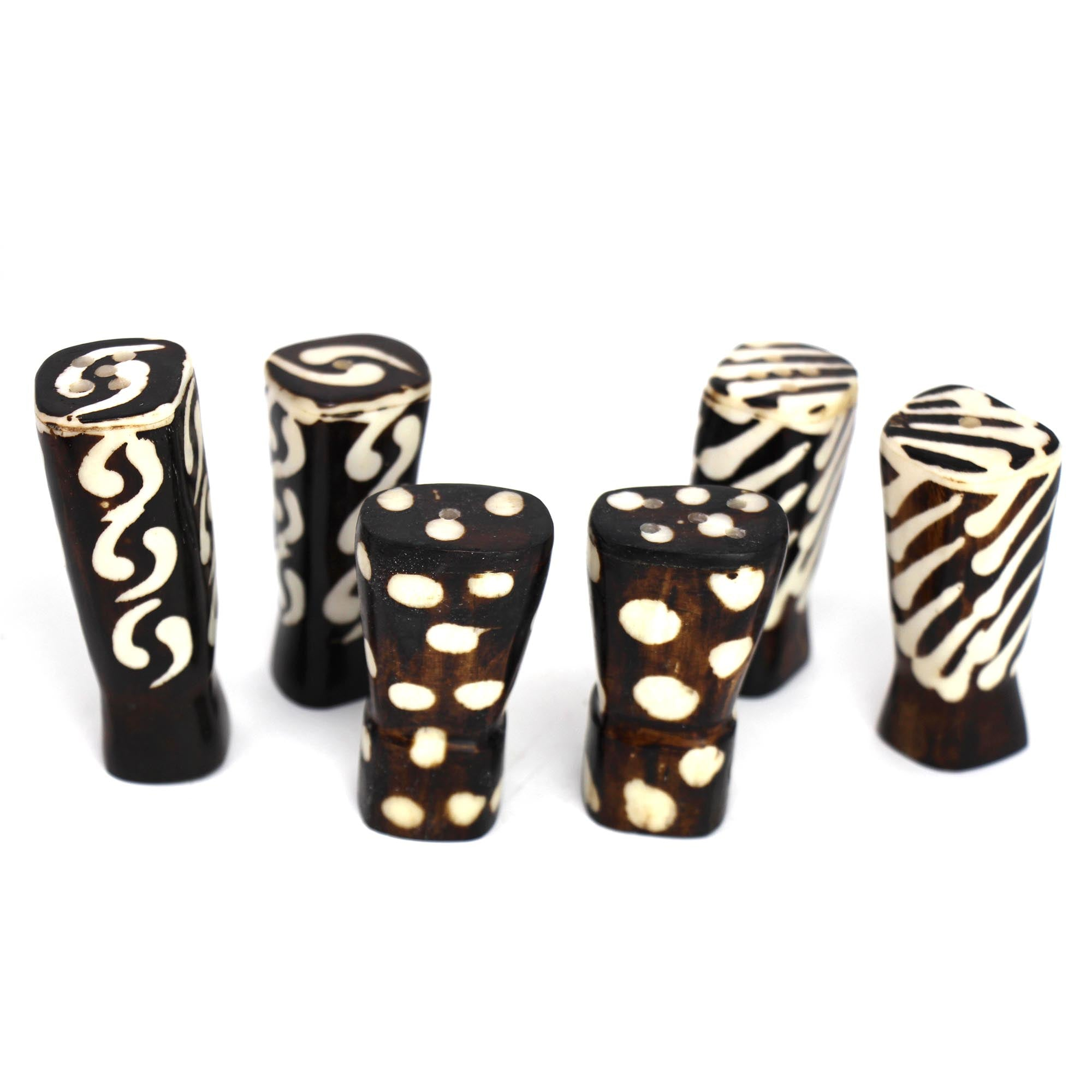 African Natural Bone Salt & Pepper Shakers, Traditional Batik Designs