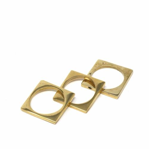 Rings: Brass Squares, Set of 3 - Size 8