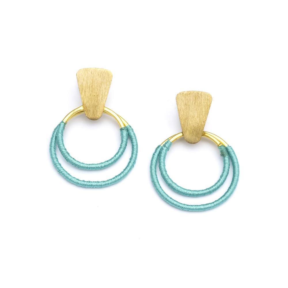 Kaia Earrings - Teal Hoops - Matr Boomie