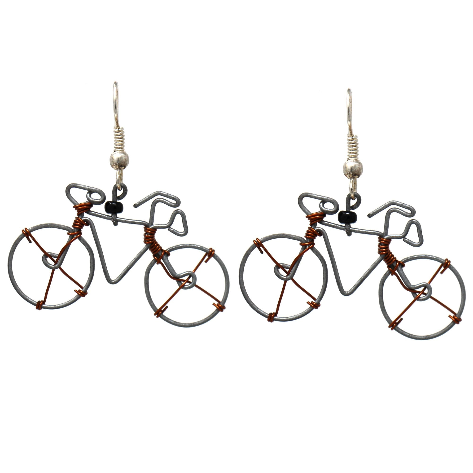 Recycled Wire Bicycle Earrings - Set of 10