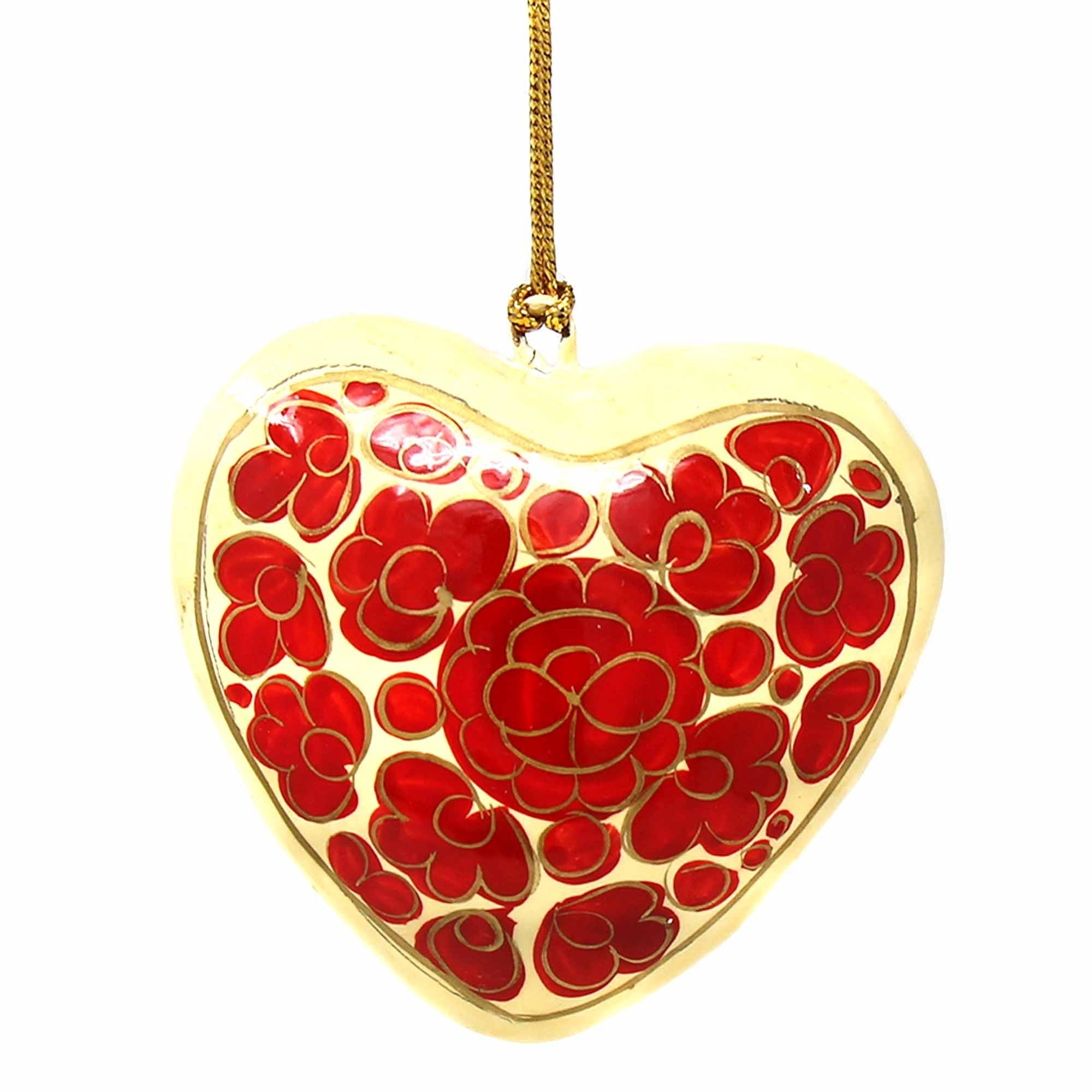 Handpainted Red Floral Papier Mache Hanging Heart Ornament