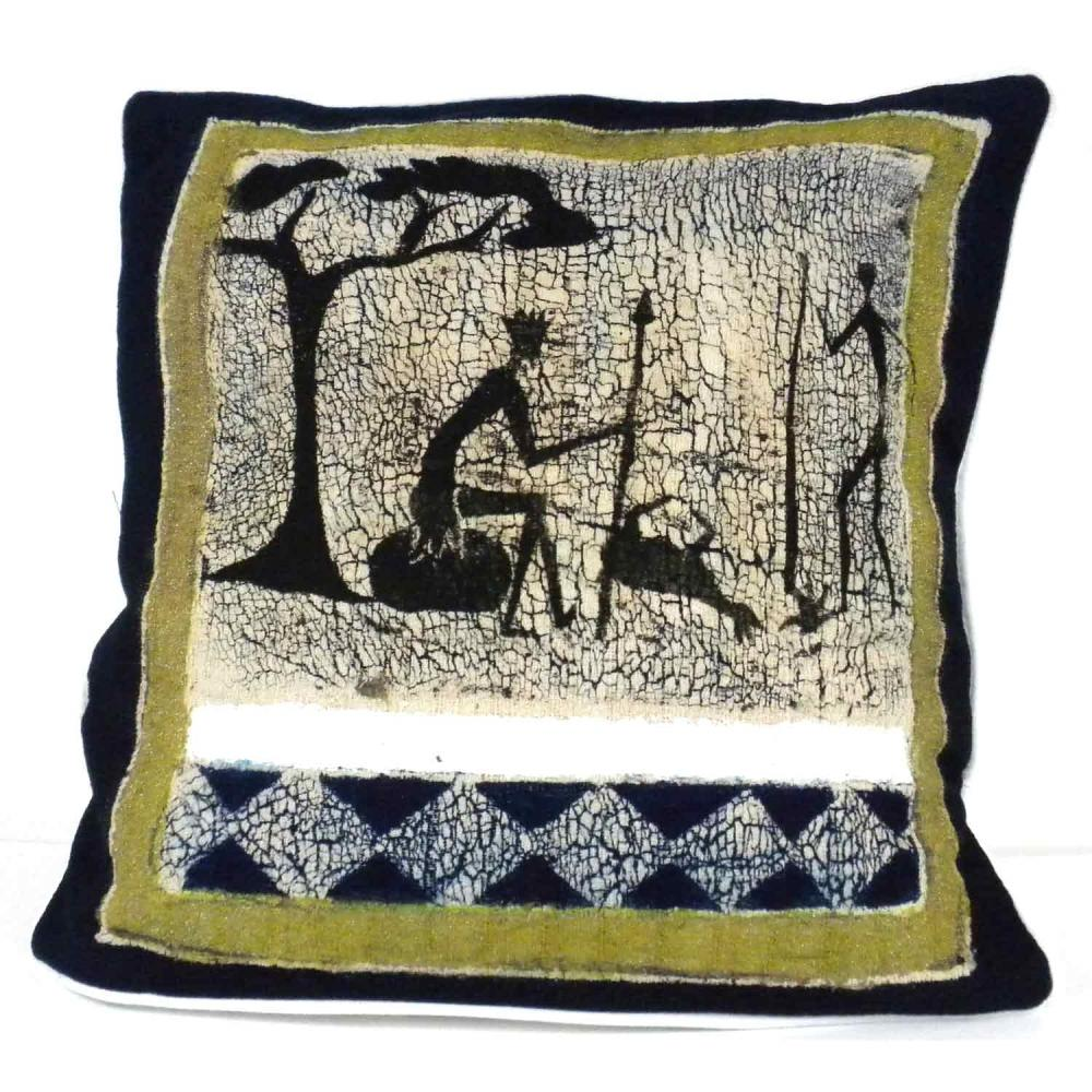Handmade Hunting Batik Cushion Cover - Tonga Textiles
