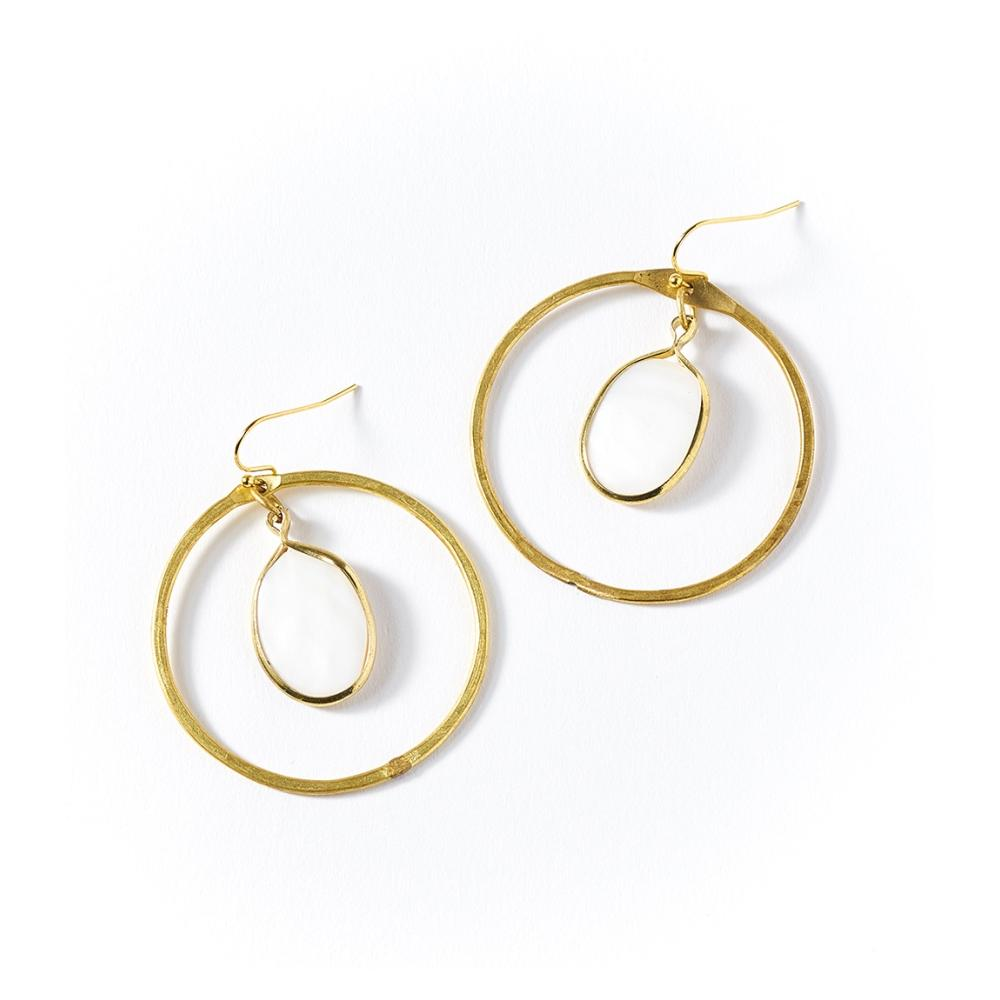 Dhavala Earrings - Pearl Hoop - Matr Boomie