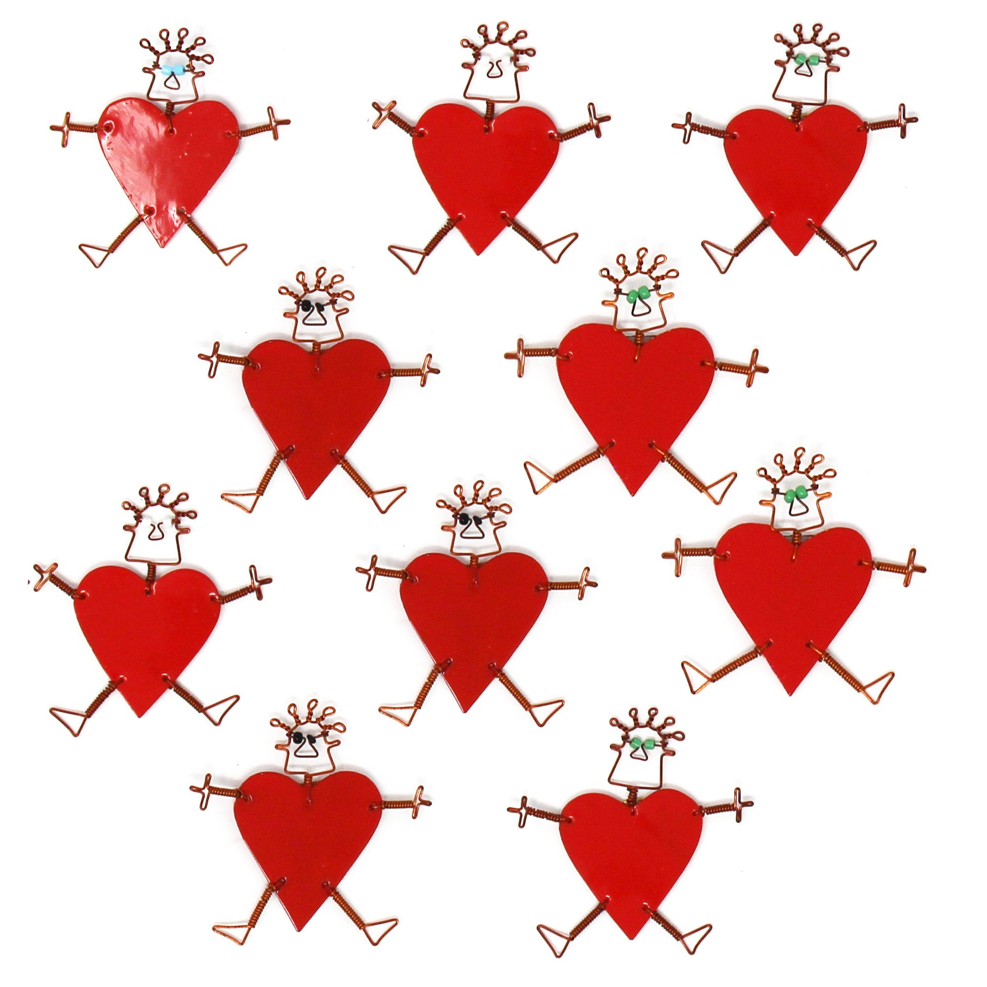 Set of 10 Dancing Girl Heart Body Pins in Red - Creative Alternatives