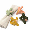 Hand-felted Cactus Napkin Rings, Set of Four Colors - Global Groove (T)