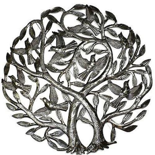 Double Tree of Life Metal Wall Art 24-inch Diameter - Croix des Bouquets
