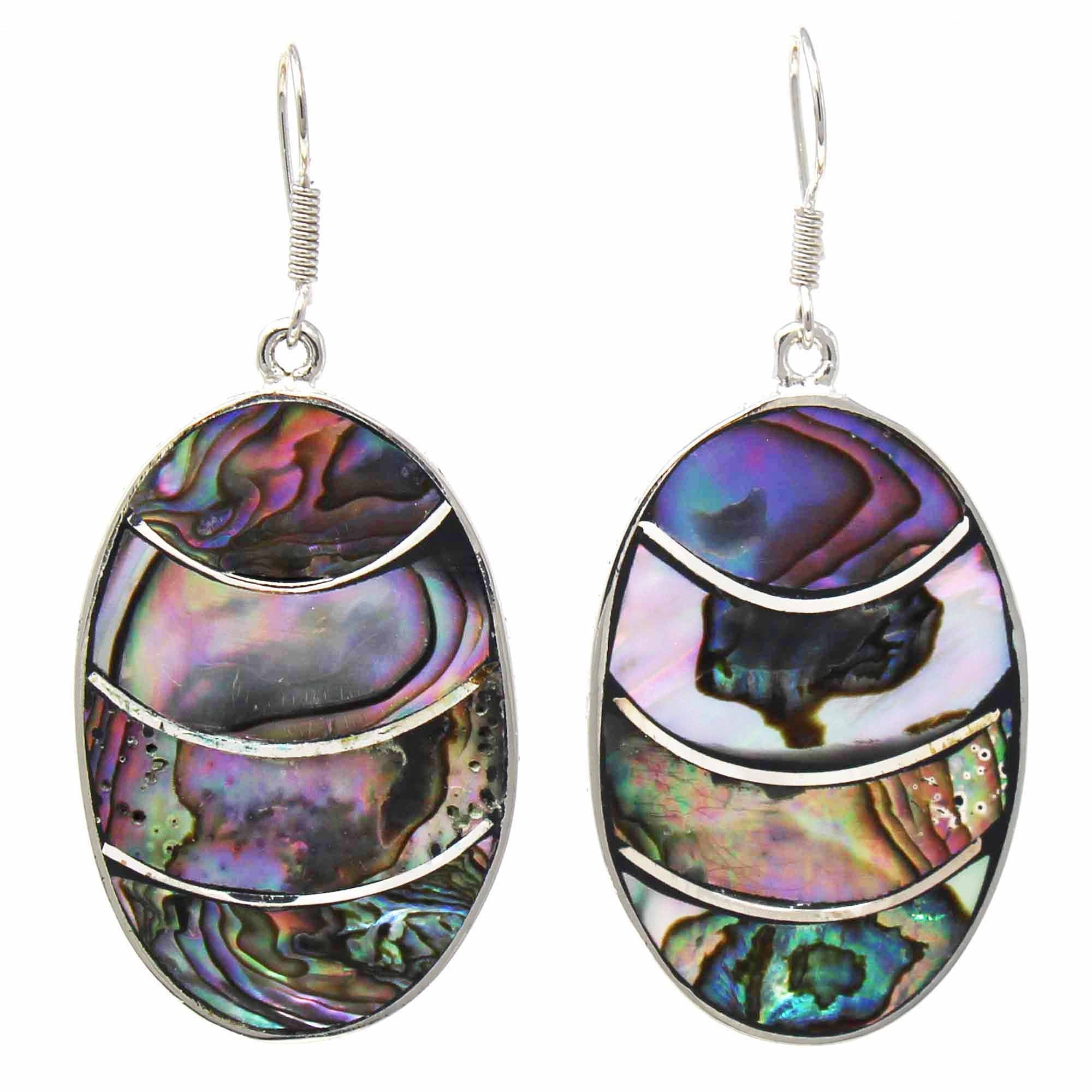 Banded Abalone Oval Earrings