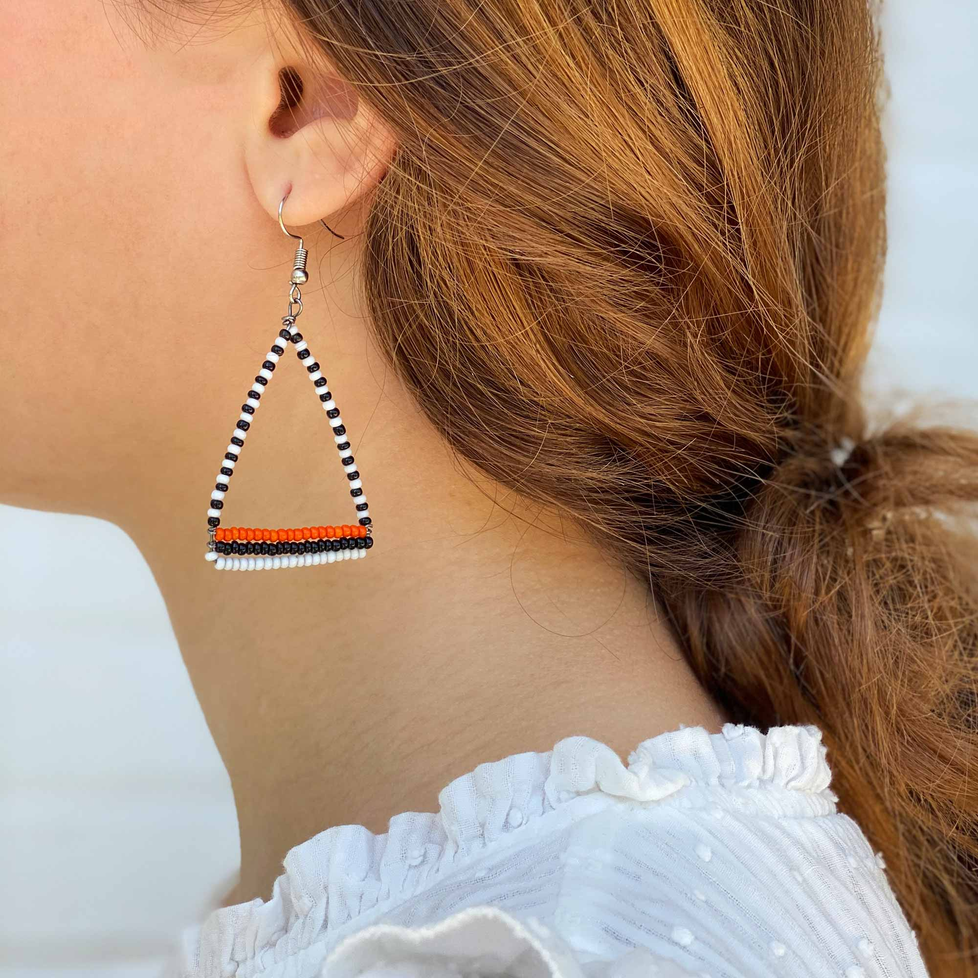 Maasai Bead Triangle Dangle Earrings, Black/White/Orange