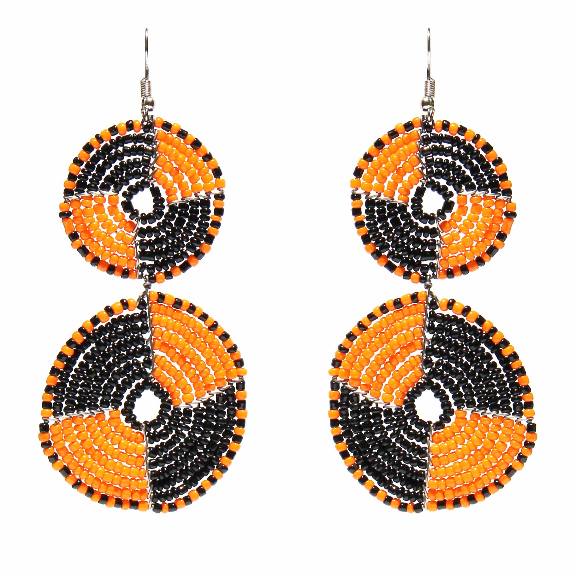 Maasai Bead Double Circle Dangle Earrings, Mango Orange and Black