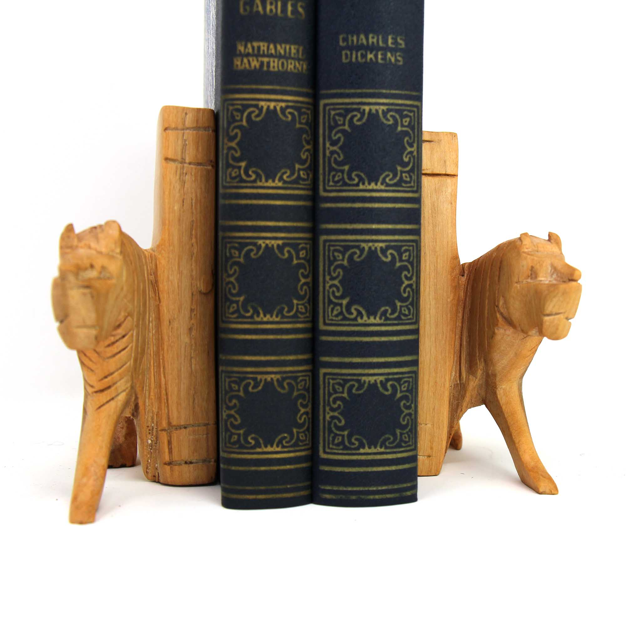 Carved Wood Lion Book Ends, Set of 2