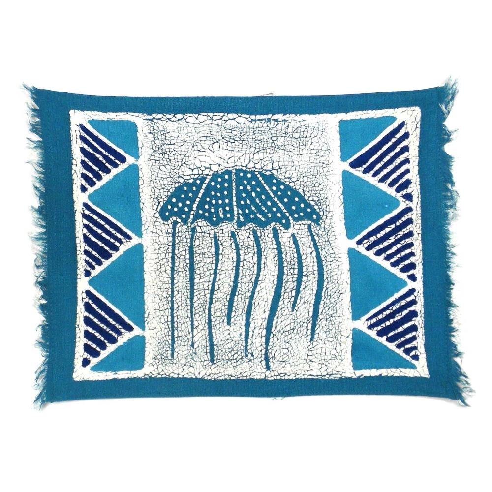 Handpainted Blue Jellyfish Batiked Placemat - Tonga Textiles