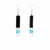 Long Rectangle Glass Dangle Earrings, Black Tie - Tili Glass
