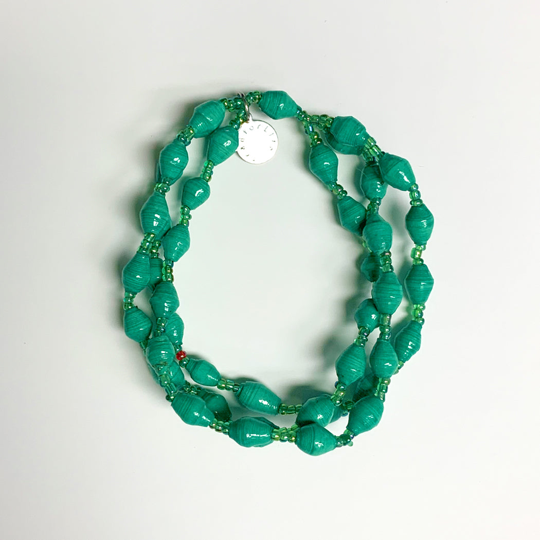 Green Recycled Paper 3-Strand Bracelet