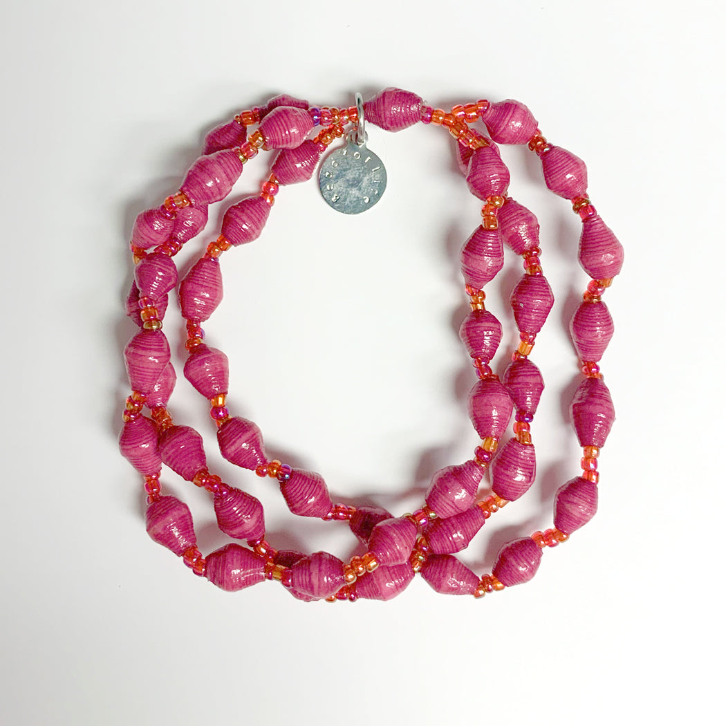 Pink Recycled Paper 3-Strand Bracelet