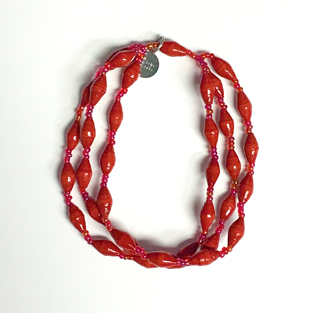 Red Recycled Paper 3-Strand Bracelet
