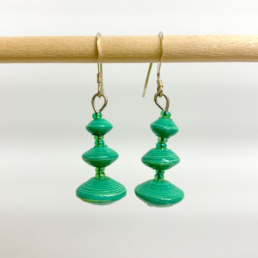 Green Recycled Paper 3-Bead Earrings