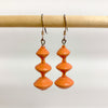 Orange Recycled Paper 3-Bead Earrings