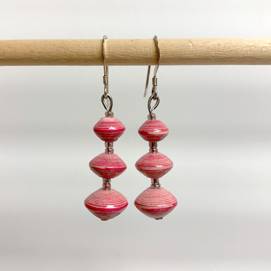 Pink Recycled Paper 3-Bead Earrings