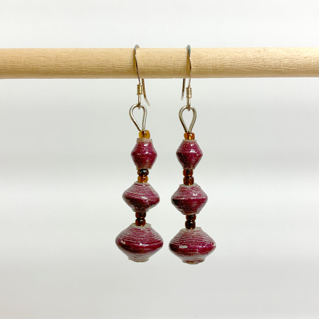 Purple Recycled Paper 3-Bead Earrings