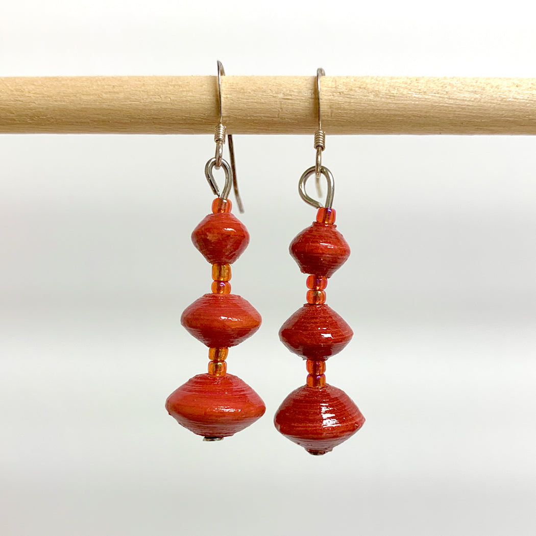 Red Recycled Paper 3-Bead Earrings
