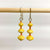 Yellow Recycled Paper 3-Bead Earrings