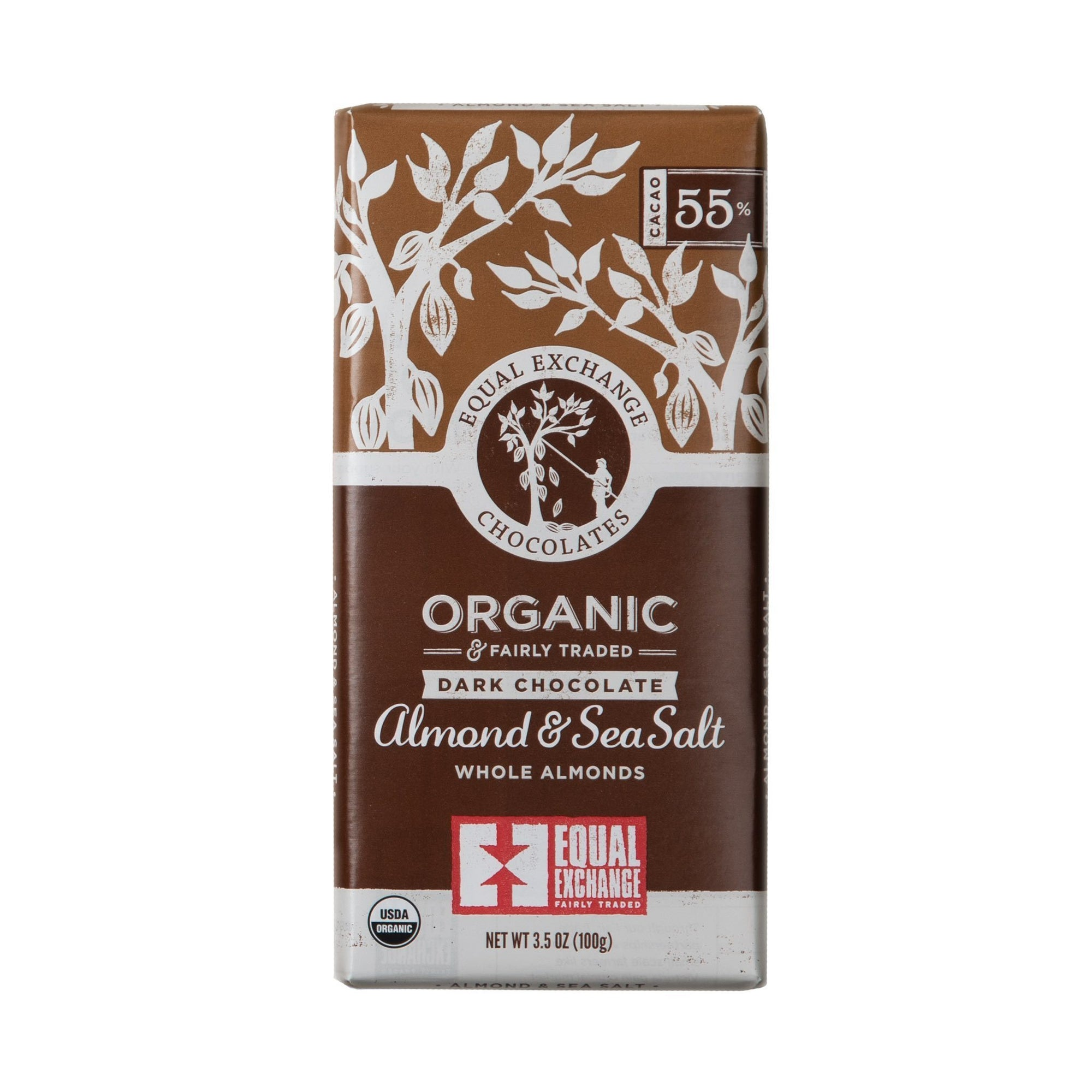 Almond & Sea Salt Organic Dark Chocolate - Equal Exchange -3.5 oz