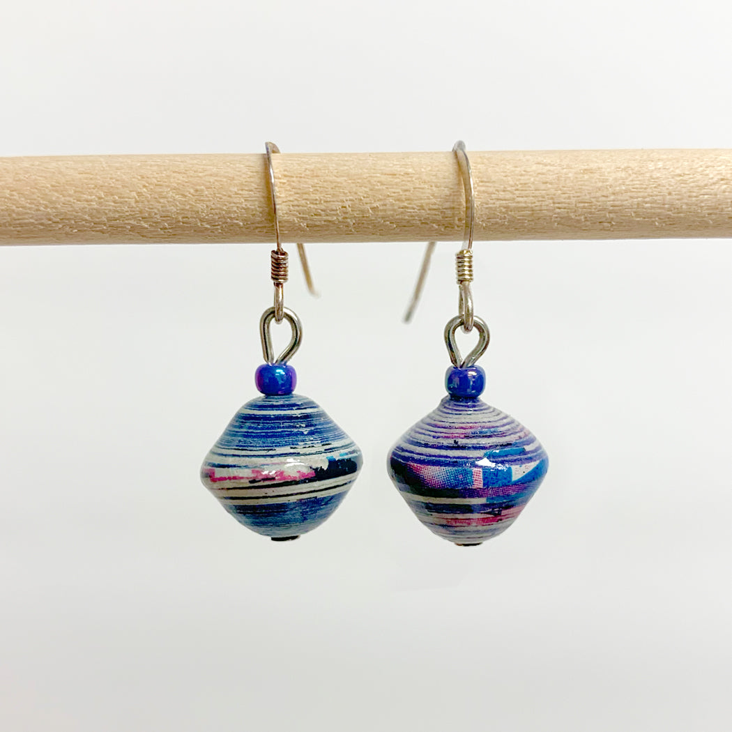 Blue Recycled Paper Drop Earrings