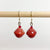 Red Recycled Paper Drop Earrings
