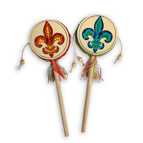 Red Fleur-de-Lis Twirl Drum - Made in Peru