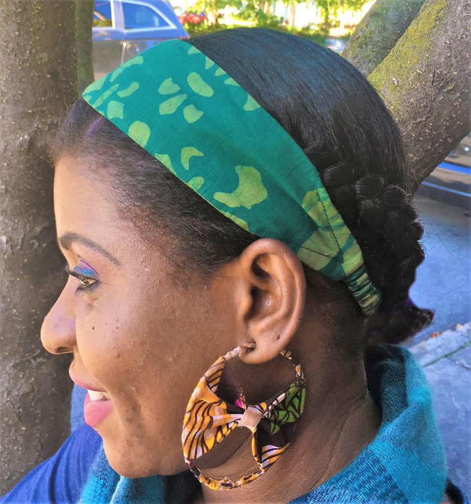Headband - Green Fleur-de-Lis Organic Cotton - Global Mamas (A)