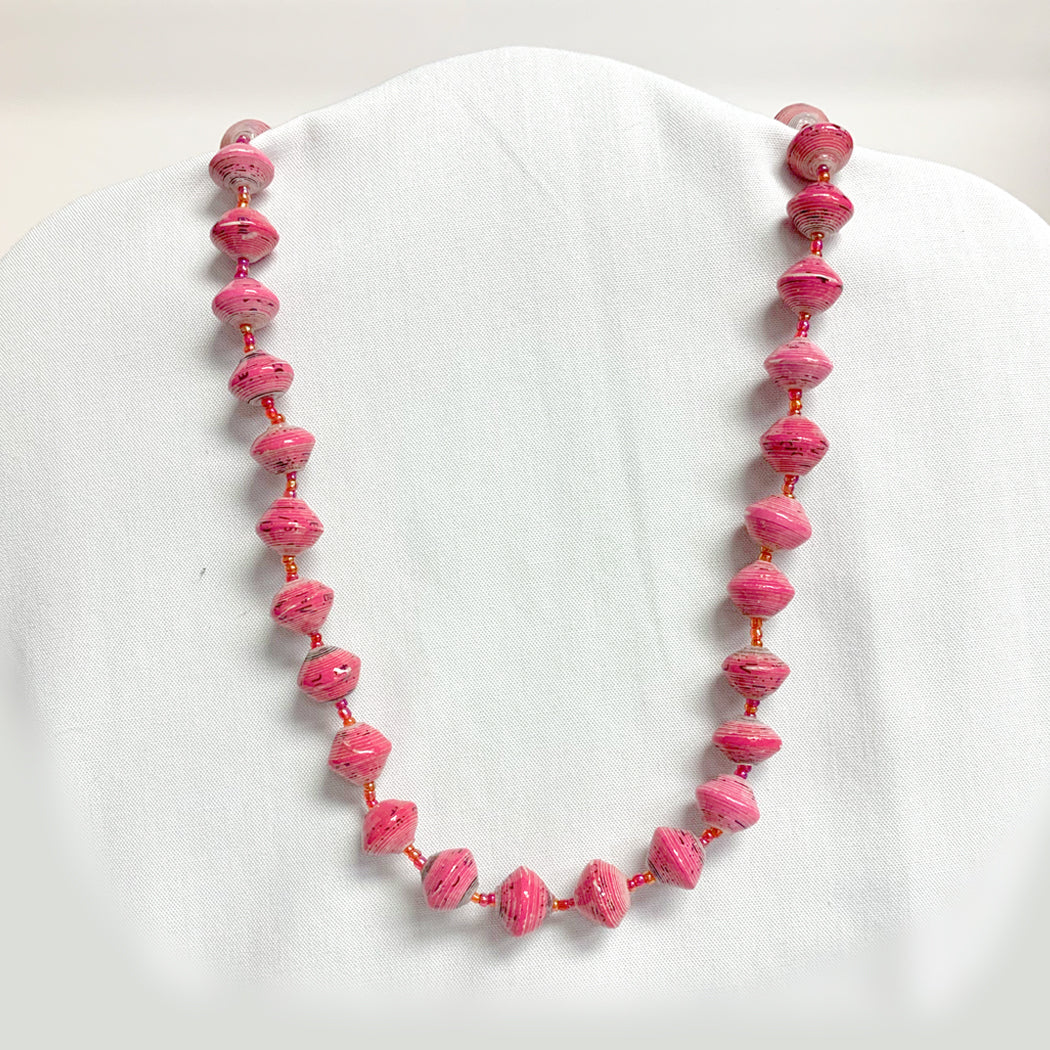 Pink Recycled Paper Necklace