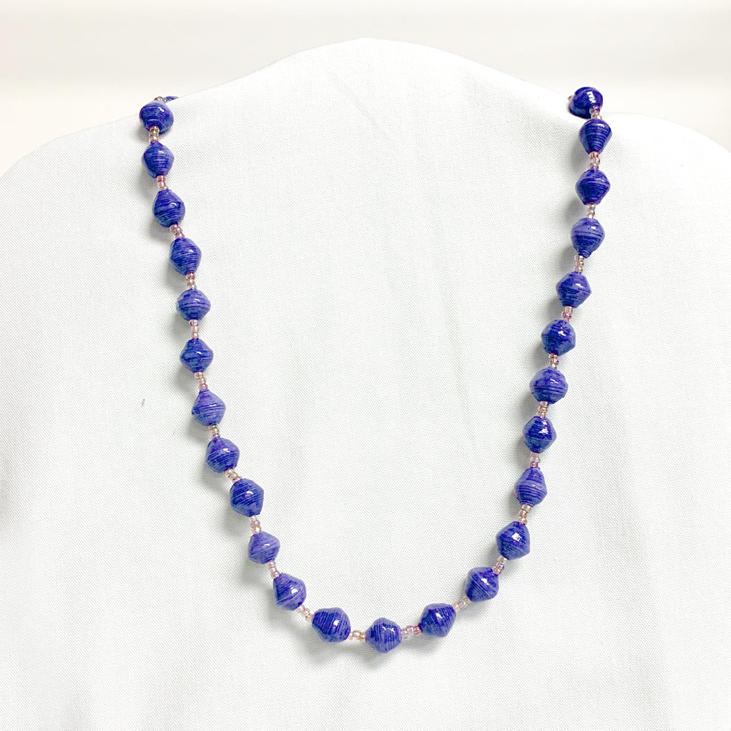 Purple Recycled Paper Necklace
