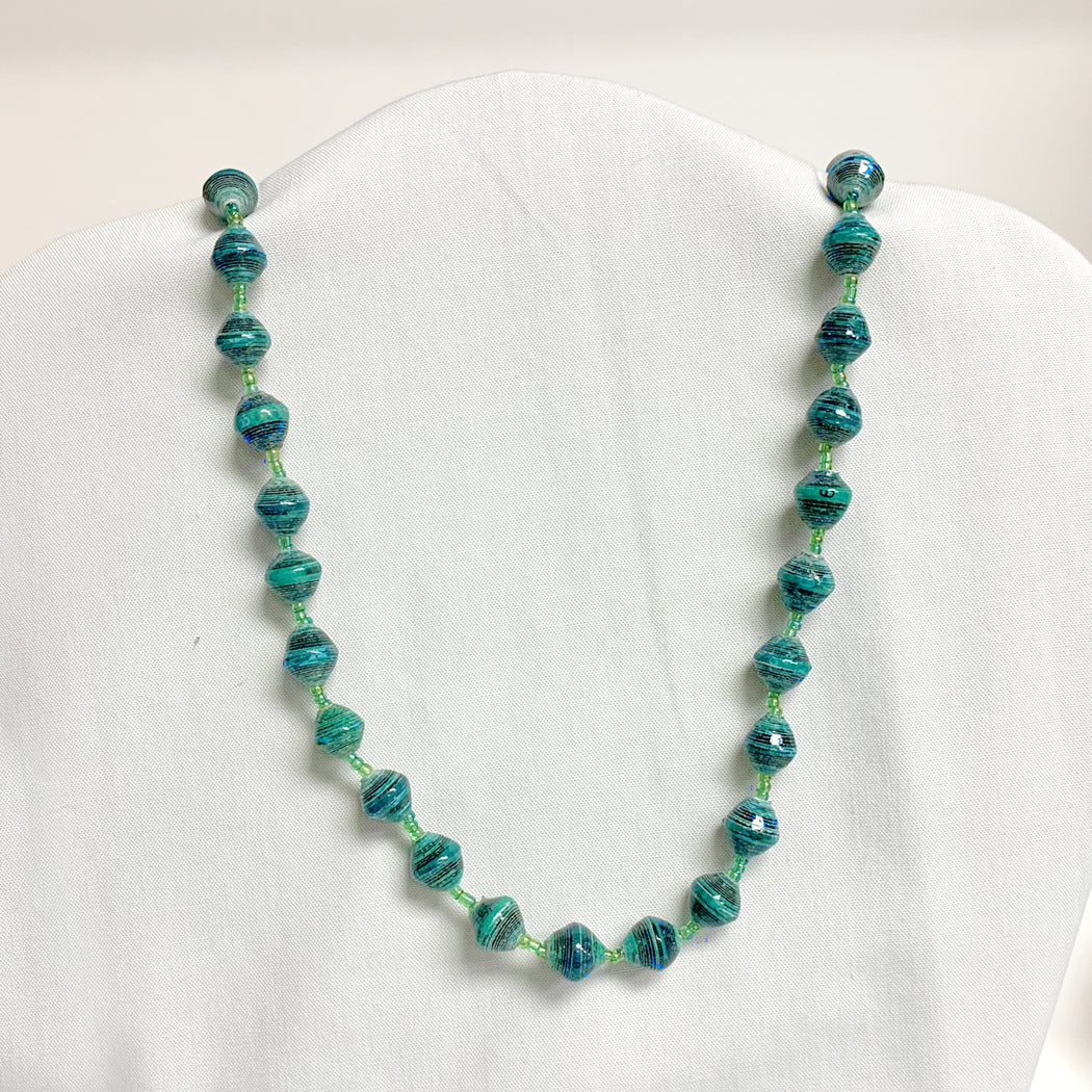 Teal Recycled Paper Necklace